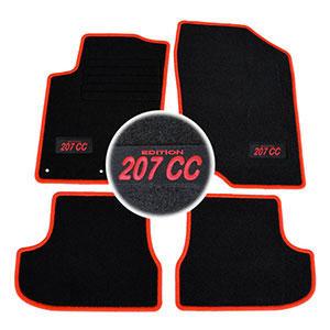 4 tapis sol peugeot 207cc 2007 2014 griffe feline moquette logo rouge specifique ebay. Black Bedroom Furniture Sets. Home Design Ideas