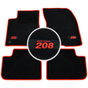 4 tapis sol peugeot 208 feline gti allure active moquette logo rouge specifique ebay. Black Bedroom Furniture Sets. Home Design Ideas