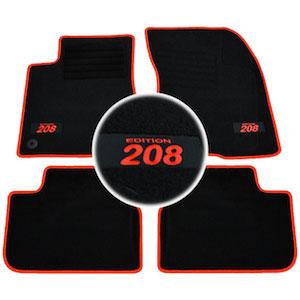 4 tapis sol peugeot 208 feline gti allure active moquette logo rouge specifique ebay. Black Bedroom Furniture Sets. Home Design Ideas