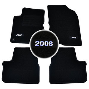 4 tapis sol moquette logo blanc specifique peugeot 2008. Black Bedroom Furniture Sets. Home Design Ideas